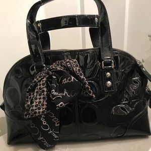 Coach Black Patent Leather Bowler bag style
